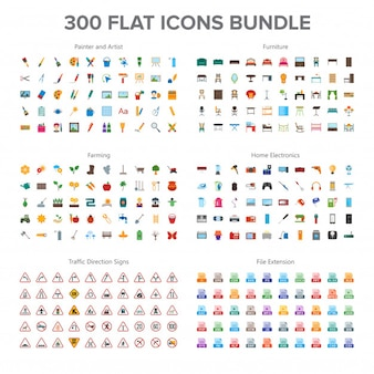 Artist, furniture, farming, home electronics and traffic signs 300 flat icons bundle