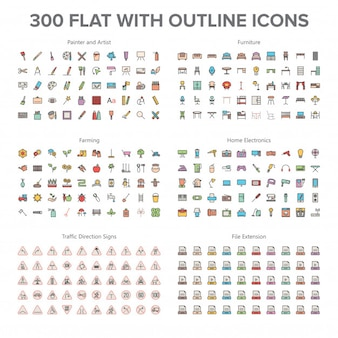 Artist, furniture, farming, home electronics and traffic signs 300 flat with outline icons