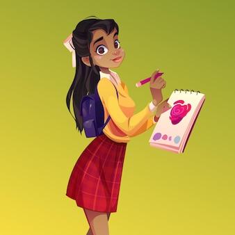 アーティストの女の子のペイントの花、黒い肌の若い女性の画家