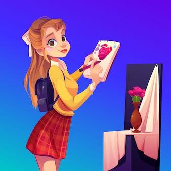 アーティストの女の子が花瓶、ワークショップスタジオで花を描く