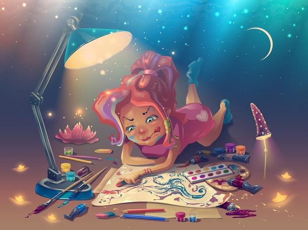 Девушка-художник рисует красочную картину на бумаге в фантастическом месте