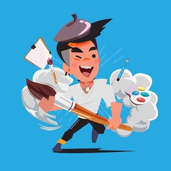 Artist hero with art tool - vector illustration
