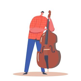 콘트라베이스를 연주하는 아티스트 남성 캐릭터. 음악 재즈 밴드 엔터테인먼트 콘서트. 더블 베이스 연주자 연주 음악가