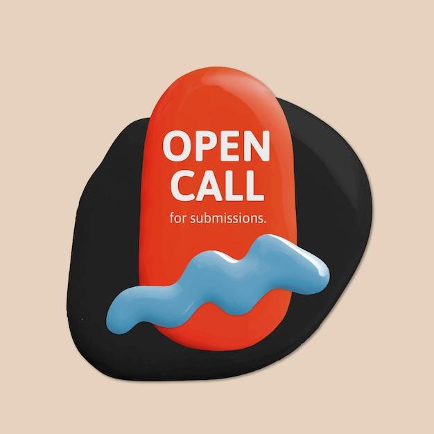 아티스트 오픈 콜 템플릿 벡터 컬러 페인트 추상 소셜 미디어 광고