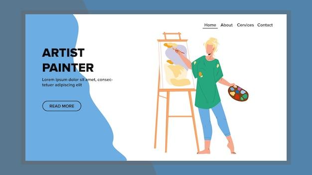 아티스트 화가 캔버스 벡터에 그림 그리기입니다. 젊은 여성 예술가 화가 그림판과 페인트로 스튜디오에서 이미지를 그리고 생성합니다. 캐릭터 아트 직업 웹 플랫 만화 일러스트 레이션