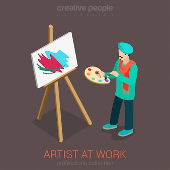 Artist painter with palette painting picture standing at easel isometric