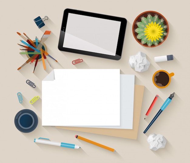 Artist painter workplace top view vector illustration.