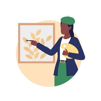 アーティストの絵画2dベクトル分離イラスト。クリエイティブな趣味。キャンバスに描く女性。美術のギャラリー展。漫画の背景に画家フラットキャラクター。創造性のカラフルなシーン