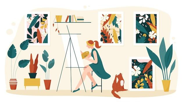家のインテリアベクトルイラストでアーティストの絵。漫画の女性画家のキャラクターがパレットを取り、イーゼルに芸術的な絵を描く、自然の葉と花が分離されたアートワーク