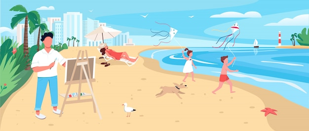 Artist painting at exotic sandy beach  color  illustration