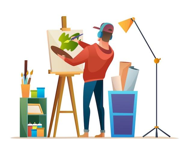Художник рисует на холсте во время прослушивания музыки в наушниках в студии концепции иллюстрации