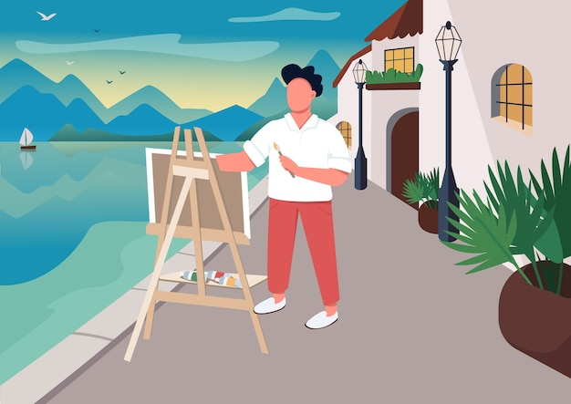 Artist painting at seaside flat color illustration. outdoor art class. summer time leisure. man with easel 2d cartoon character with ocean and resort town houses on background