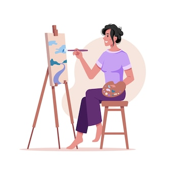 Artist paints picture at easel isolated woman with brush drawing on tripod at paper isolated flat