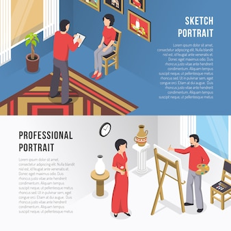 Artist and portrait isometric banners