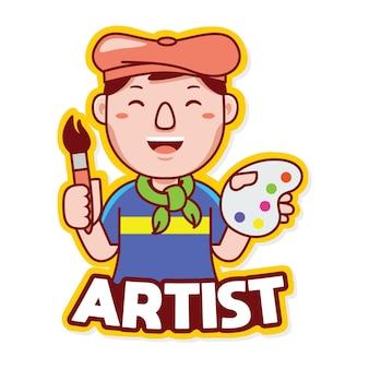 Вектор логотипа талисмана профессии художника в мультяшном стиле