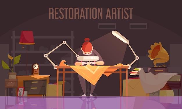 アーティストの復元者は、復元アーティストが物事を復元することに取り組んでいるフラットイラストを着色しました