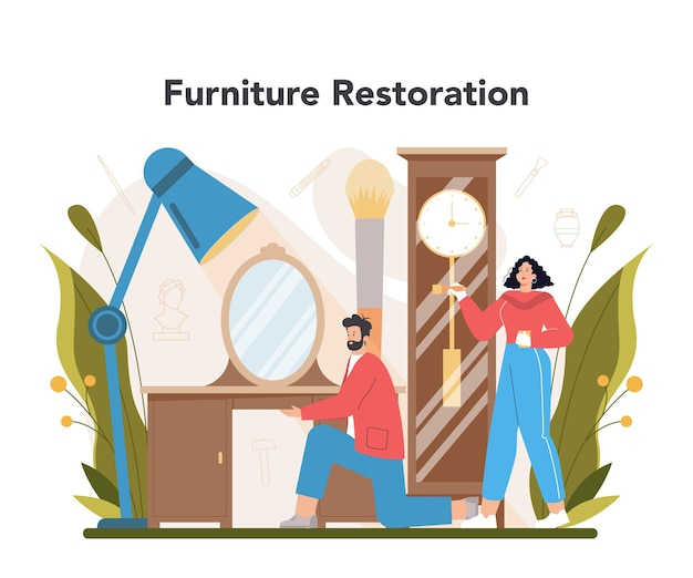 Художник восстанавливает старую мебель