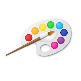 Artist's palette with brush -  illustration.