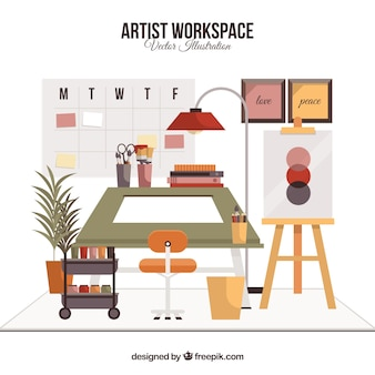 Рабочее пространство художника с плоским дизайном