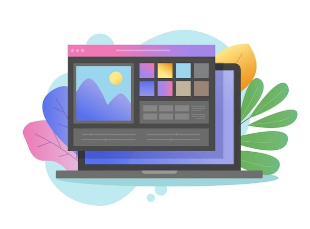 랩톱 pc 컴퓨터 평면 만화에 디지털 드로잉 프로그램 또는 사진 편집기 앱 온라인 이미지 다크 컬러 소프트웨어에서 아티스트 스튜디오 사진 만들기