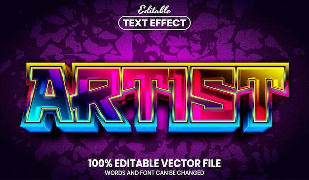 Artist text, font style editable text effect