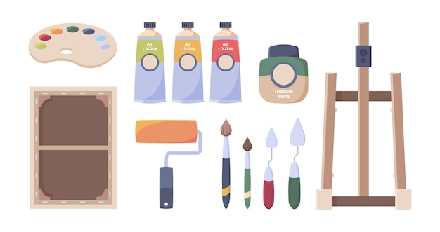 Artist tools. paints brushes oil tubes palette canvas easel pencils paper hobby accessories for art studio vector illustrations. gouache paint and paintbrush, artist hobby instrument