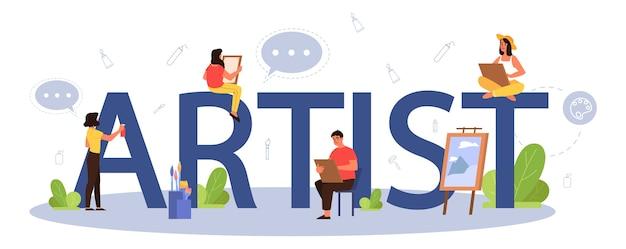 아티스트 인쇄용 헤더 개념. 창의적인 사람과 직업에 대한 아이디어. 큰 이젤 앞에 서서 브러시와 페인트를 들고 남성과 여성 아티스트.