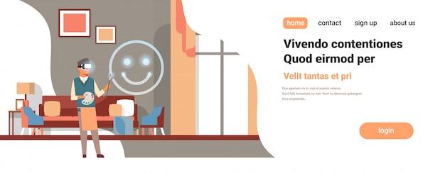 Artist wear digital glasses drawing virtual reality smile emoji vr vision headset innovation concept home interior