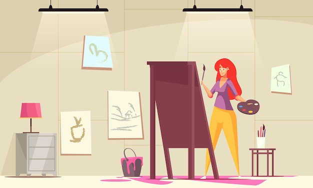 Artist with making  a painting and inspiration symbols flat  illustration,