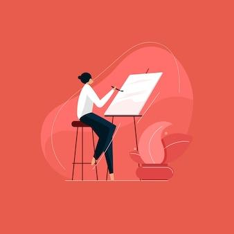 Художник женщины рисуют кистью и мольбертом