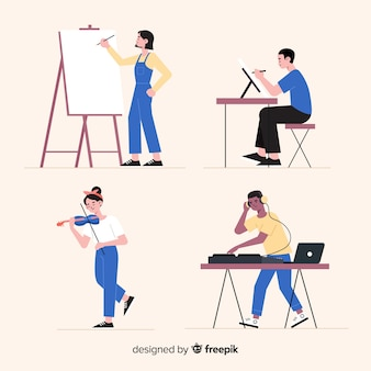 Artist at work flat design