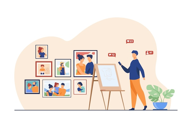 Artista che lavora nel suo studio. ritratto della pittura dell'uomo, cavalletto, illustrazione piana di vettore della galleria. lavoro creativo, pittore, artigiano