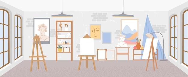 イーゼル付きのアーティストワークショップまたはアートスタジオの教室のインテリア。キャンバスと描画ツール、ペイントとブラシのベクトルシーンのある画家の部屋