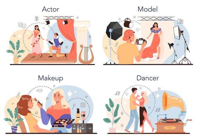 Набор занятий артистическим и шоу-бизнесом. актер, танцор, визажист и модель. сборник современных профессий. плоские векторные иллюстрации
