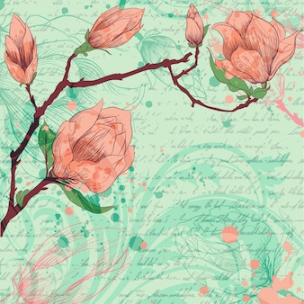 Artistic background with hand drawn flowers