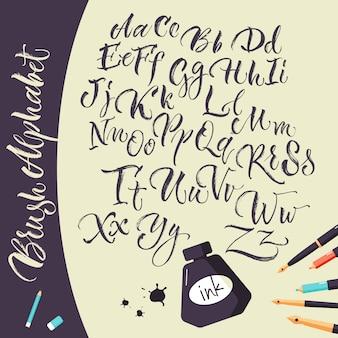 잉크 펜과 알파벳 예술적 배경