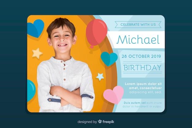 Disegno artistico dell'invito del biglietto di auguri per il compleanno