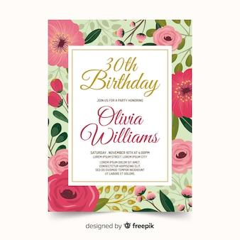 芸術的な誕生日カードの招待状のテンプレート