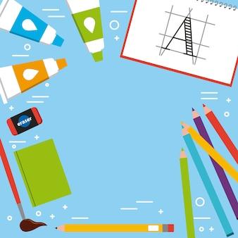 Artistic book brush eraser pencil color tube acrylic