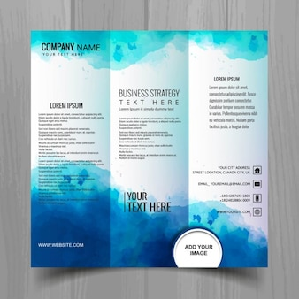 Artistic brochure with watercolors, triptych