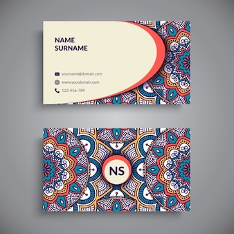 Artistic business card with a mandala
