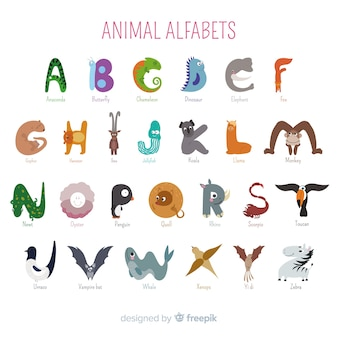 Artistic cartoon animals school alphabet