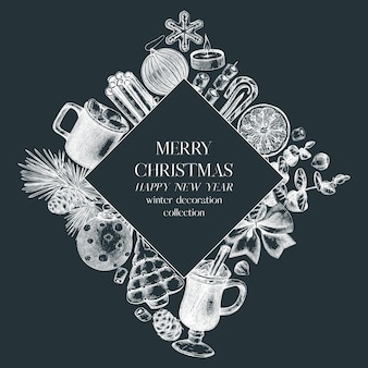 Artistic christmas wreath design on chalkboard winter holiday frame