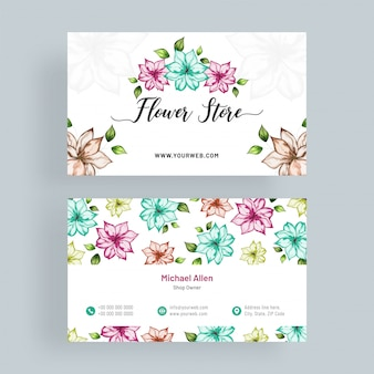 Artistic, colorful floral decorated business card.