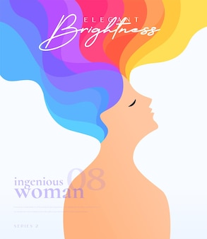Artistic colorful hair woman graphic