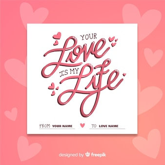 Artistic concept for lettering with valentines day theme