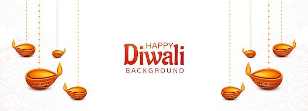Artistic decorative diwali hanging oil lamp card banner background