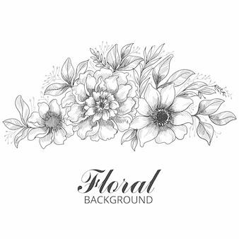 예술적 장식 꽃 스케치