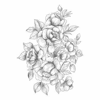 芸術的な装飾的な花のスケッチ