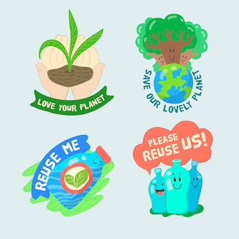 Artistic draw with ecology badge collection